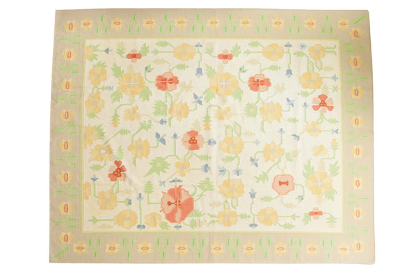 8x10 Vintage Minimalist Happy Dhurrie Carpet - Old New House