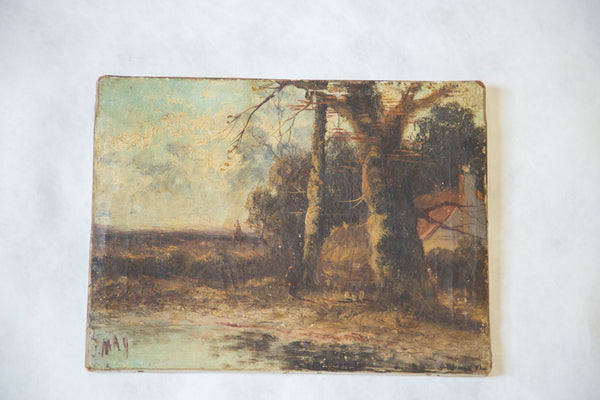 Antique Miniature Landscape - Old New House