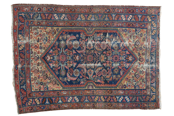 3.5x5 Colorful Distressed Antique Malayer Rug - Old New House