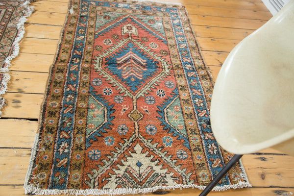 2.5x4.5 Vintage Heriz Area Rug Fragment - Old New House