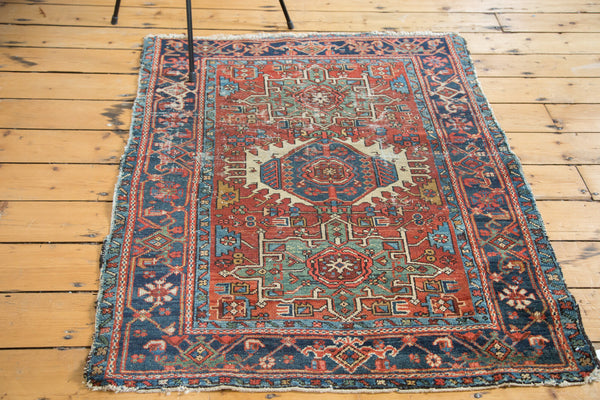 3.5x4.5 Distressed Antique Karaja Square Rug - Old New House