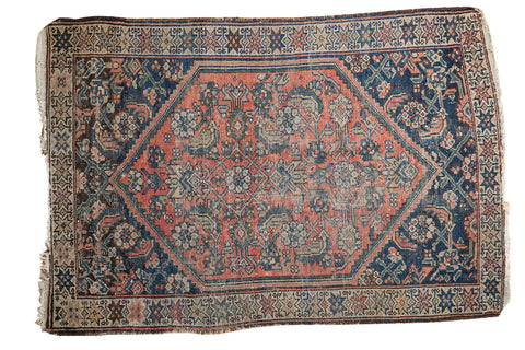 3x4 Distressed Antique Malayer Square Rug