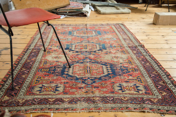 4x6.5 Distressed Antique Soumac Caucasian Rug - Old New House