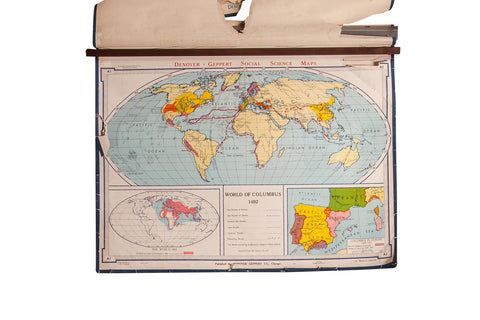 Vintage and antique maps old new house maps gifts for him vintage denoyer geppert world map gumiabroncs Images