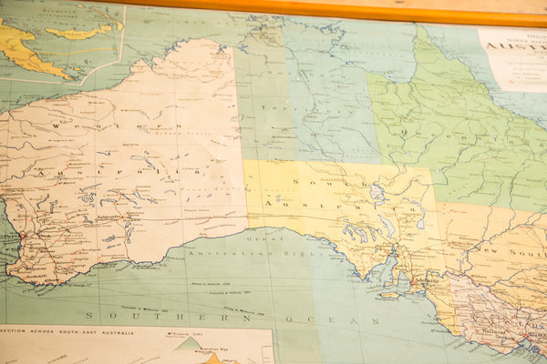 Vintage Australia Pull Down Map - Old New House