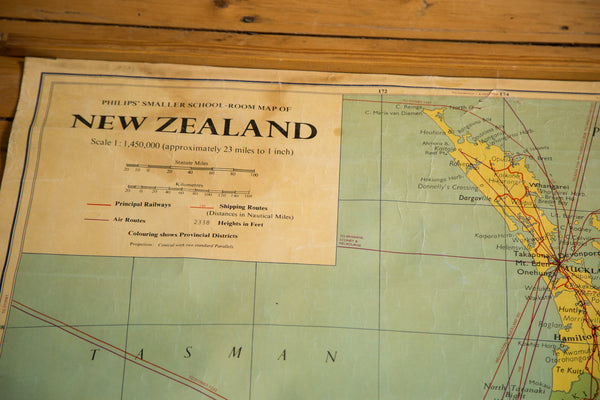 Vintage New Zealand Pull Down Map - Old New House