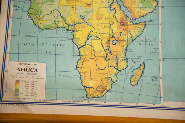 Vintage Africa Pull Down Map - Old New House