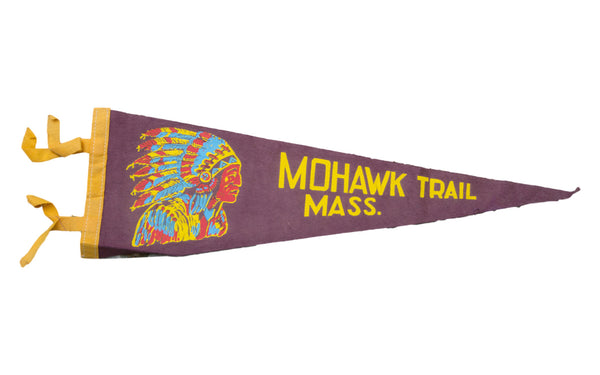 Vintage Mohawk Trail Massachusetts Felt Flag Banner - Old New House