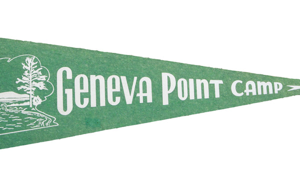 Vintage Geneva Point Camp Felt Flag Banner - Old New House