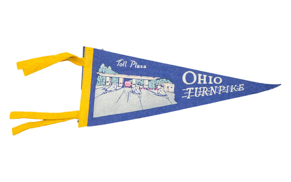 Vintage Ohio Turnpike Felt Flag Banner - Old New House
