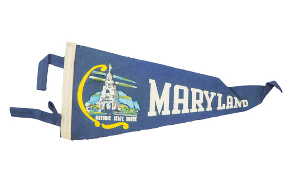 Vintage Maryland Felt Flag Banner - Old New House