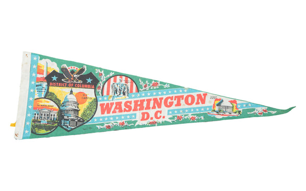 Vintage Washington DC Felt Flag Banner - Old New House