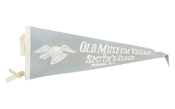 Vintage Old Museum Village of Smith's Glove Monroe NY Felt Flag Banner - Old New House