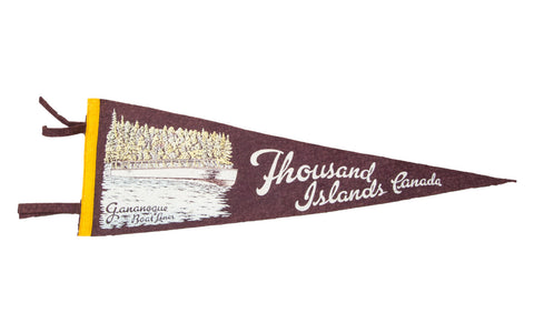 Vintage Thousand Islands Canada Felt Flag Banner