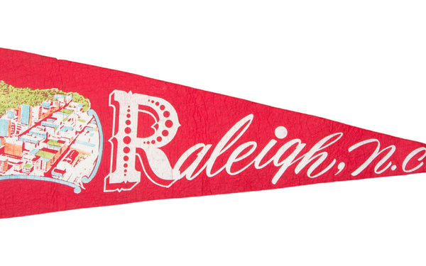 Vintage Raleigh NC Felt Flag Banner - Old New House