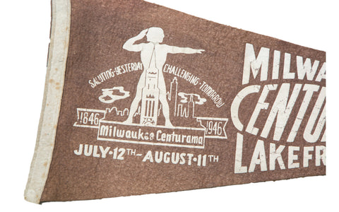 Vintage Milwaukee Wisconsin Centurama Lakefront Celebration Felt Flag Banner