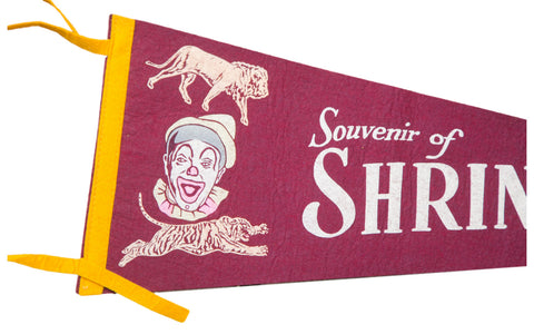 Vintage Souvenir of Shrine Circus Felt Flag Banner