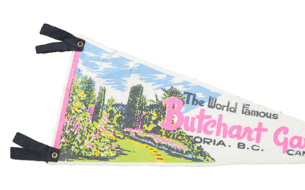 Vintage World Famous Butchart Gardens Canada Felt Flag Banner - Old New House