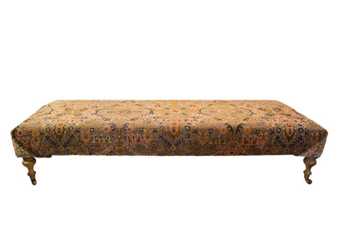 Extra Long Vintage Persian Rug Ottoman