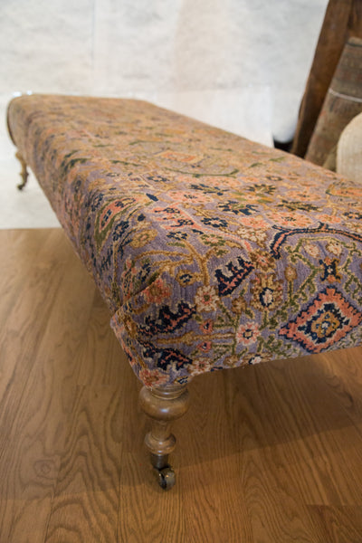 Extra Long Vintage Persian Rug Ottoman - Old New House