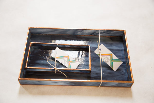 Small Black Stained Glass Tray - Old New House