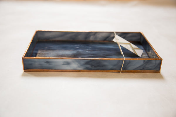 Large Black Stained Glass Tray - Old New House