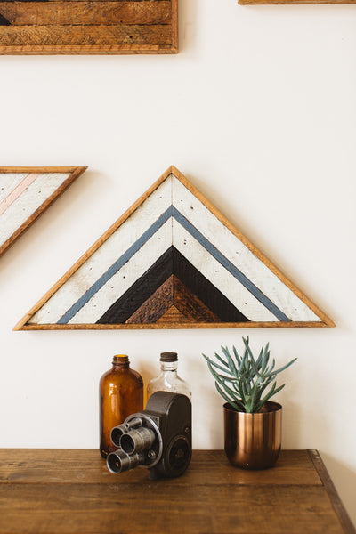 Reclaimed Wood Art Triangle Pink - Old New House