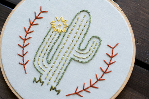 Cactus Embroidery Art - Old New House