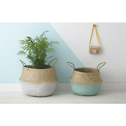 LG White Dipped Belly Basket - Old New House