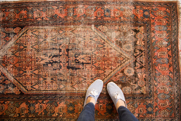 3.5x6 Antique Distressed Malayer Rug - Old New House