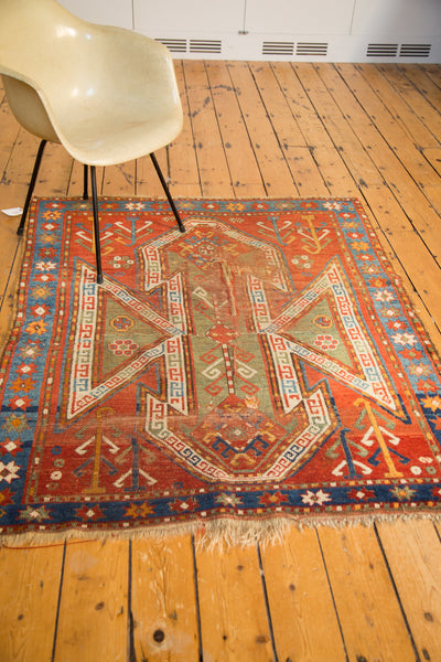 4.5x5.5 Antique Distressed Sewan Kazak Square Rug - Old New House