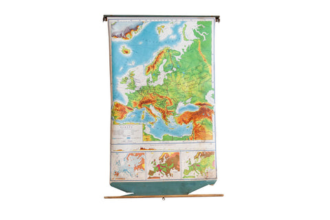 Vintage Europe Pull Down Map - Old New House