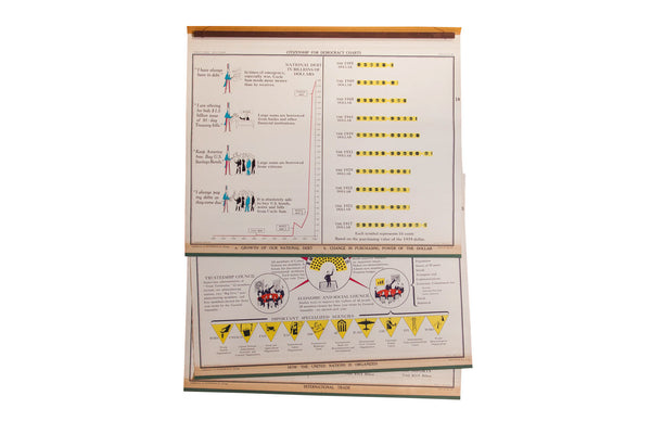 Vintage Democracy School Chart Set - Old New House