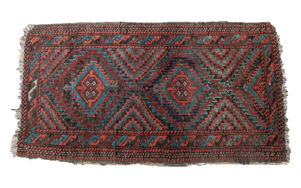 2x3 Lightly Tattered Balouch Rug
