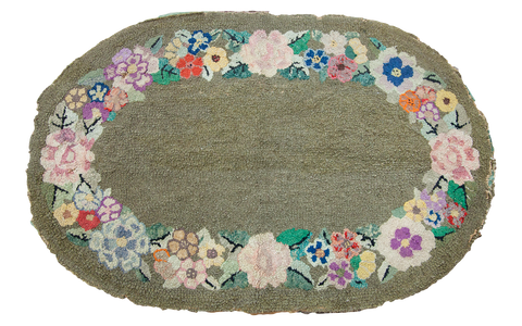 "2'3"" x 3'6"" Bohemian Green Hooked Rug / Item 1141 image 1"