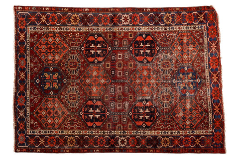 Antique Distressed Baktiari Rug