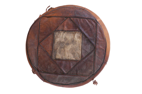 Small Vintage Leather Pouf
