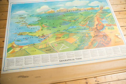Vintage Denoyer-Geppert Landforms Pull Down Map