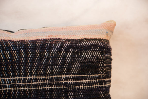 Small Lumbar Rag Rug Fragment Pillow