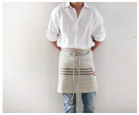Handmade in USA Linen Short Apron
