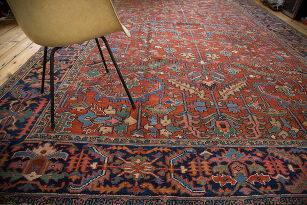 Vintage Distressed Heriz Carpet