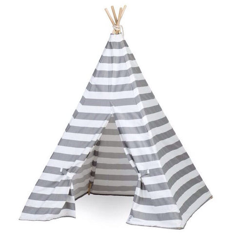 Kids Gray and White Stripe Teepee - Old New House