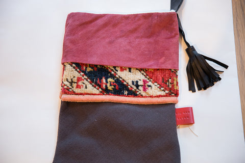 Antique Rug Fragment Stocking Fuscia Suede
