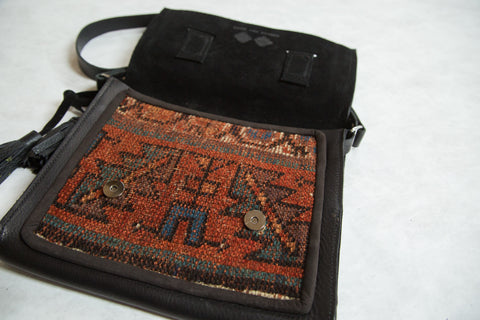 Antique Kurdish Rug Fragment Messenger Bag