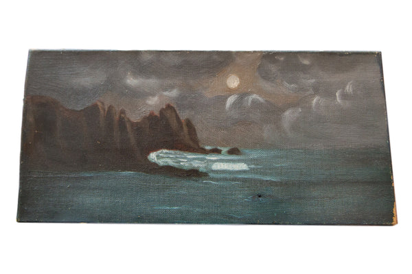 Vintage Sea Painting with Moon - Old New House