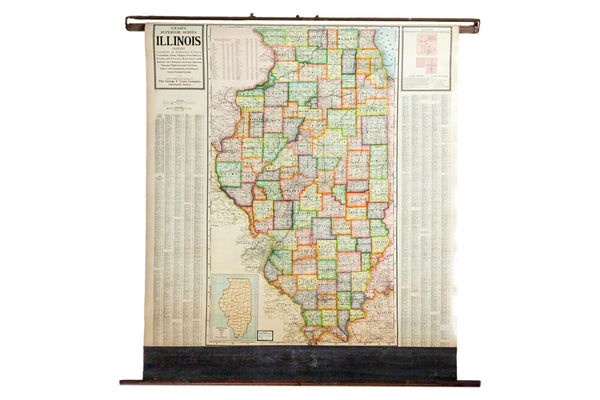 Vintage 1930s Cram's Map of the state of  Illinois
