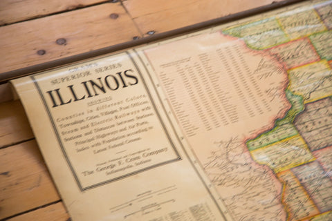 Vintage Cram's Superior Series Map of Illinois 1930