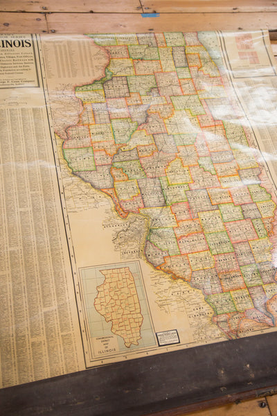 Detailed hanging map of Illinois Vintage 1930s Cram's Super Series Pull Down Map