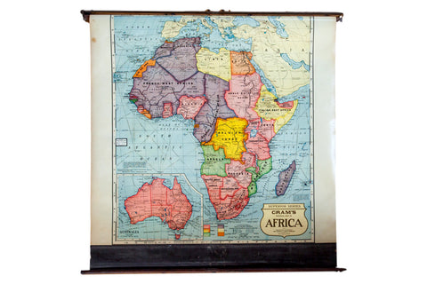 1930s Cram's vintage pull down map of Africa Superior Series