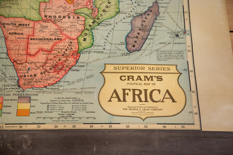 Cram's 1930s Superior Series pull down map of Africa